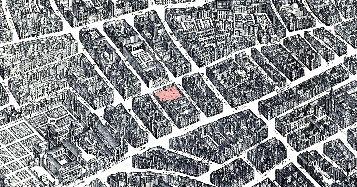 Quartier de Saint Nicolas des Champs, plan de Turgot, 1735-1739.